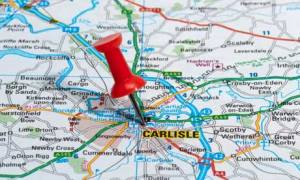 red map pin in road map pointing to city of Carlisle